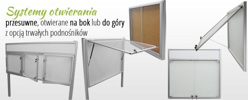 aluminiowe gabloty, witryny, tablice - systemy otwierania